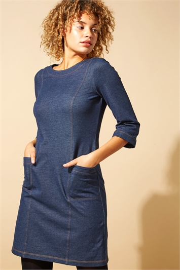 Top Stitch Detail Denim Shift Dress