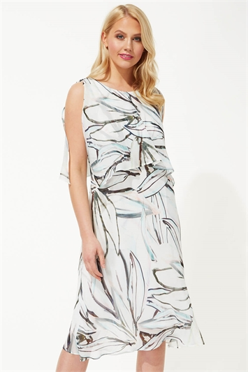 Abstract Print Chiffon Layer Midi Dress