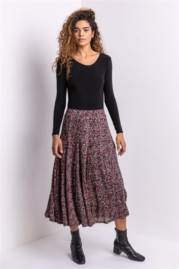 Red Ditsy Floral Burnout Midi Skirt