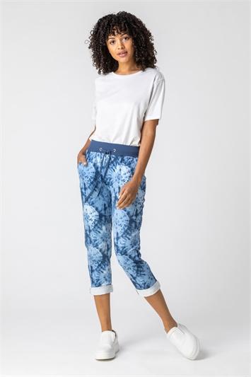 Blue Tie Dye Roll Hem Cropped Pants