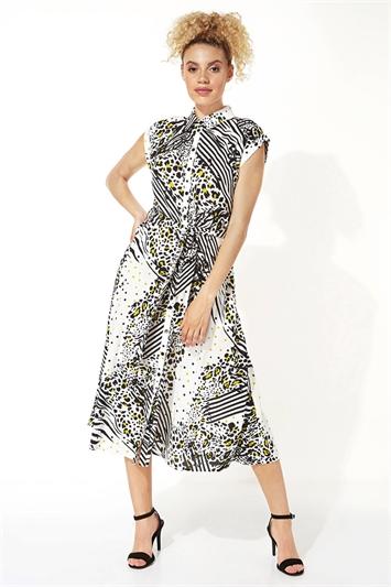 Animal Print Shirt Midi Dress