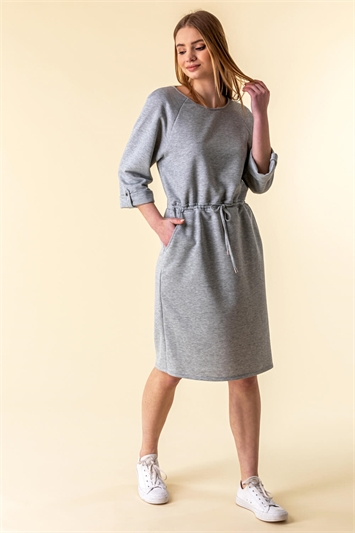 Drawstring Jersey Sweater Dress