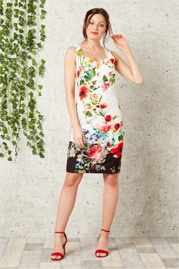 Floral Print Sweetheart Scuba Dress