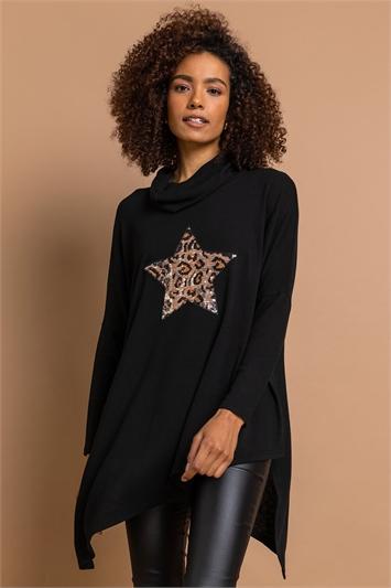 Black Animal Sequin Star Cowl Neck Top