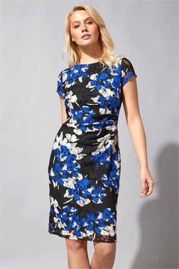 Blue Floral Print Ruched Lace Dress
