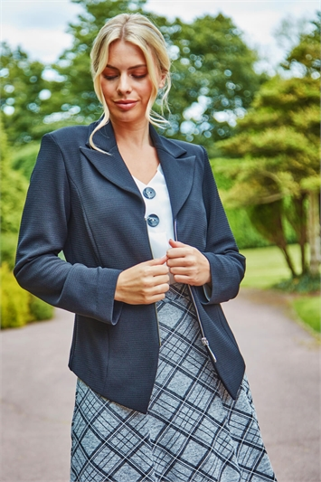 Zip Through Textured Long Sleeve Jacket