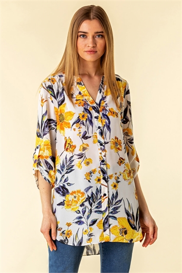 Floral Button Through Tunic Blouse