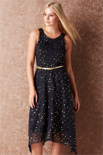 Star Print Belted Midi Dress