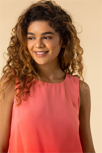 Coral Ombre Print Overlay Top