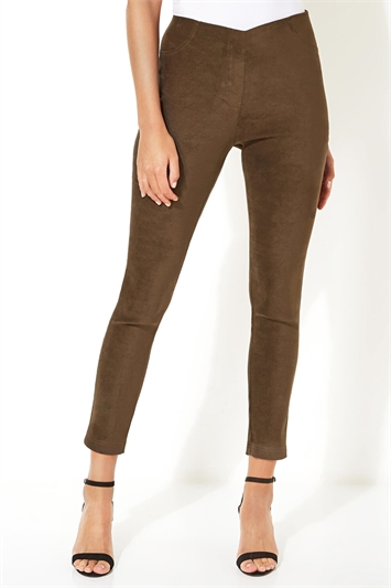 Full Length Suedette Stretch Trousers
