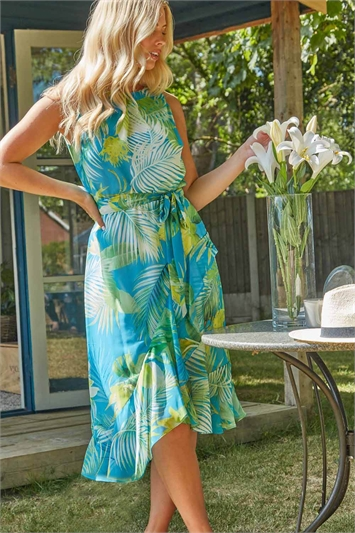 Tropical Print Asymmetric Midi Dress