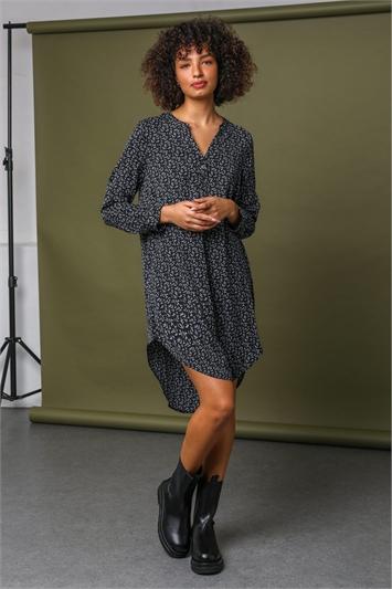 Black Leaf Print Asymmetric Tunic Dress