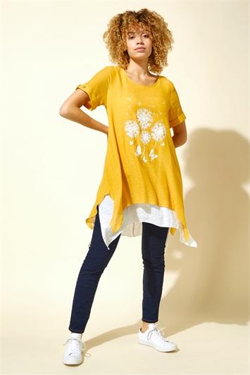 Dandelion Floral Hanky Hem Tunic Top