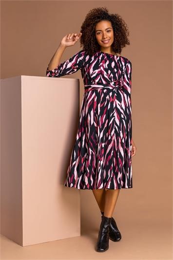 Rose Animal Print Waist Detail Midi Dress, Image 1 of 5