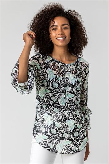 Mint Tie Detail Floral Print Blouse