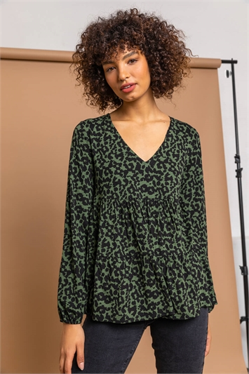 Green Animal Print V Neck Tiered Top, Image 1 of 5