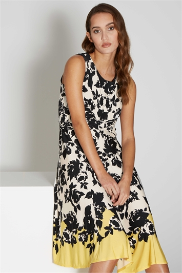 Floral Border Print Twist Waist Dress