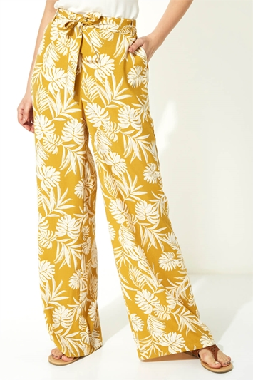 Palm Print Wide Leg Trousers