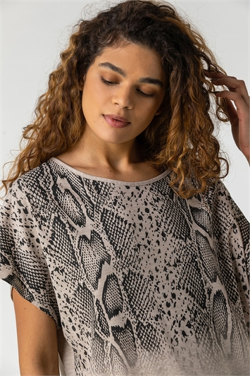 Neutral Snake Print Ombre Top