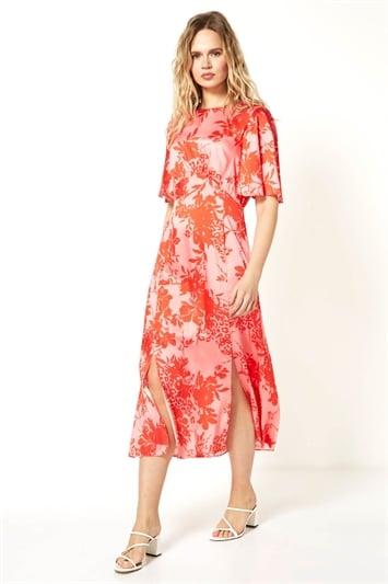 Floral Print Oriental Midi Dress