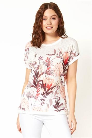 Embellished Floral Print T-Shirt