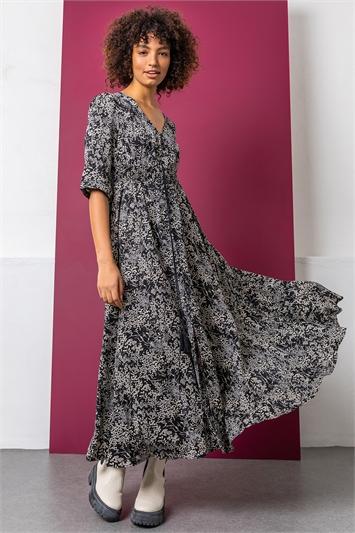 Black Floral Print Shirred Waist Maxi Dress