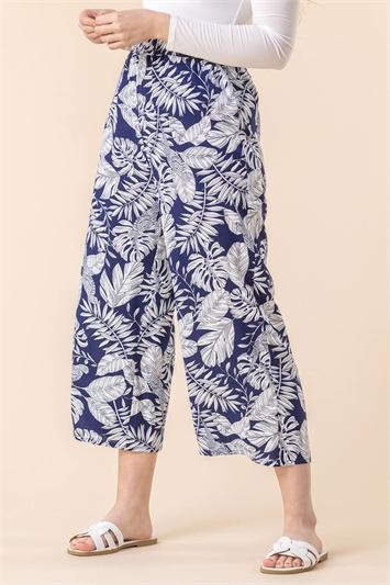 Navy Bird Leaf Print Culotte Trousers