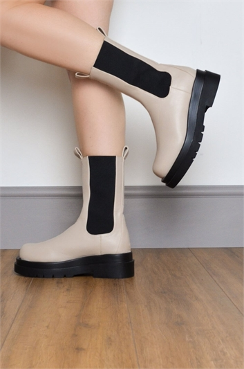 Natural Chunky Platform Ankle Boot