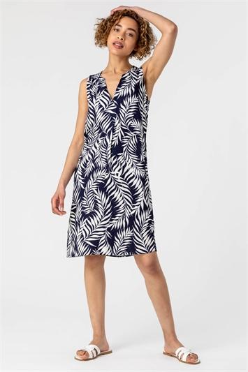 Navy Feather Palm Print Shift Dress