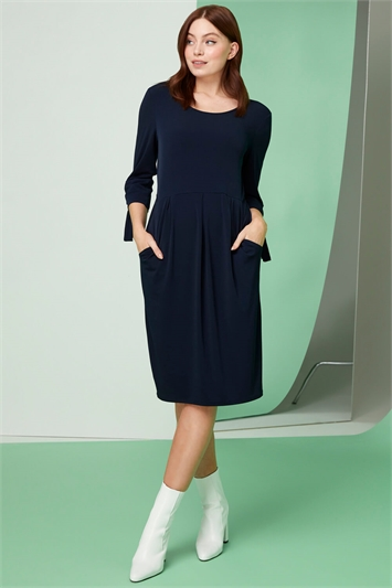 Eyelet Sleeve Pocket Shift Dress