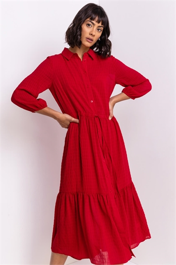 Red Tiered Textured Midi Shirt Dress, Image 1 of 5