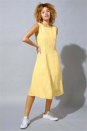 Lemon Fit & Flare Button Back Pocket Dress