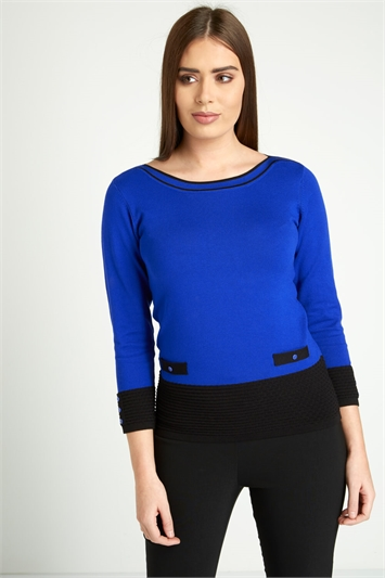 Contrast Button Knit Jumper