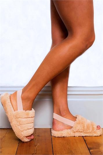 Mocha Fluffy Elastic Strap Slippers