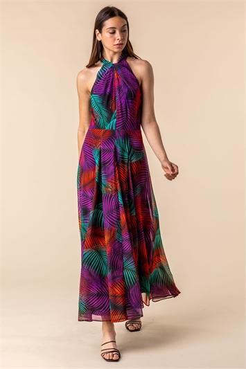 Tropical Print Halter Neck Maxi Dress