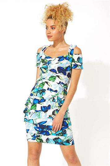 Floral Shutter Pleat Fitted Dress
