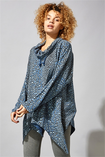 Animal Cowl Neck Hanky Hem Top