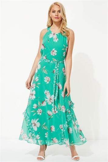 Floral Print Frill Maxi Dress