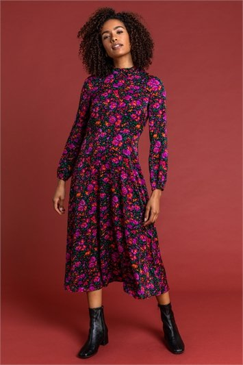 Purple Floral High Neck Midi Dress