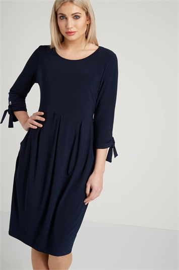 Eyelet Sleeve Jersey Dress