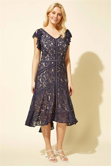 Lace Hi Low Hem Midi Dress