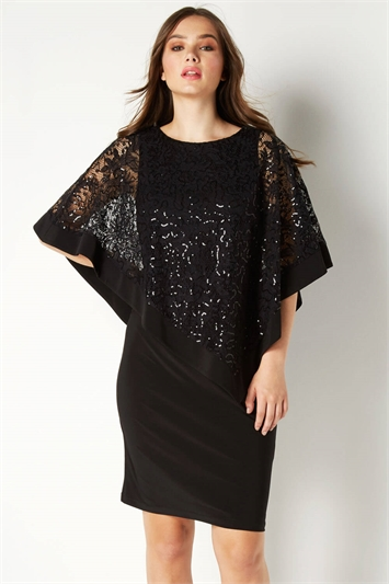 Sequin Lace Overlay Dress