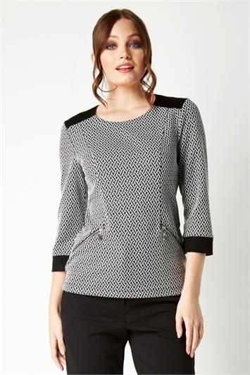 3/4 Sleeve Textured Top