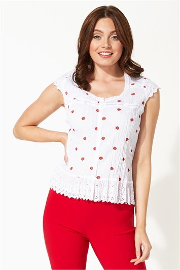 Strawberry Print Button Crinkle Blouse