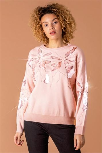 Floral Sequin Embellished Jumper