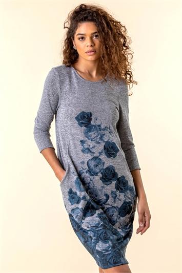 Grey Floral Border Print Pocket Dress, Image 1 of 4