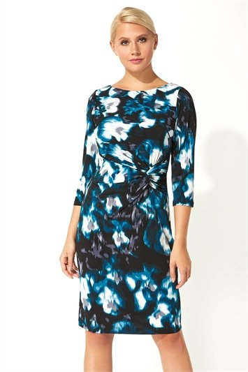Abstract Floral Twist Waist Dress