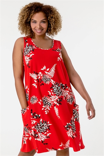 Red Curve Floral Print Swing Dress
