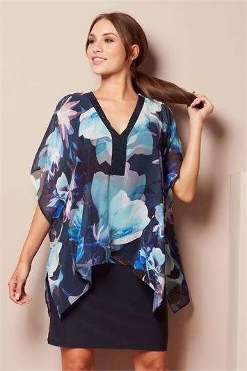 Sparkle Chiffon Overlay Dress