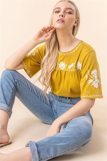 Embroidered Yoke T-Shirt